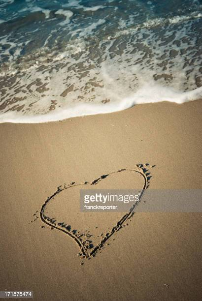 Heart message in the sand