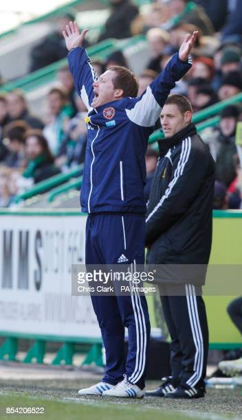 Heart of Midlothian caretaker manager Gary Locke reacts during the Clydesdale Bank Scottish Premier League match at Easter Road Edinburgh