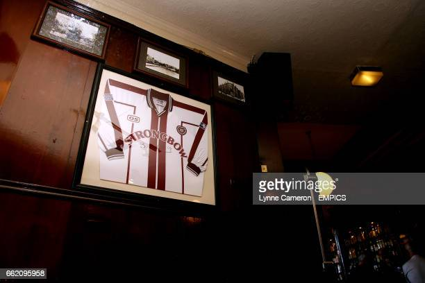 Heart of Midlothian memorabilia on the wall in the local pub