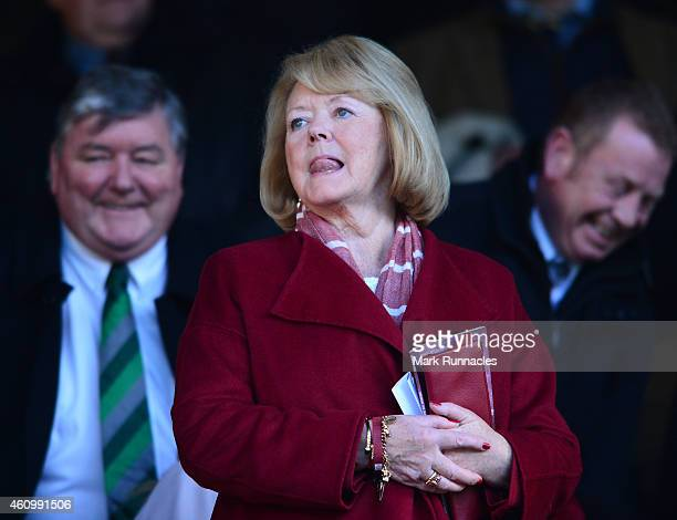 Heart of Midlothian owner Ann Budge looks on froth main stand during the Scottish Championship match between Heart of Midlothian FC and Hibernian FC...