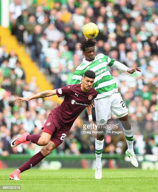 Heart of Midlothian's Bjorn Johnsen and Celtic's Dedryck Boyata battle for the ball during the Ladbrokes Scottish Premiership match at Celtic Park...