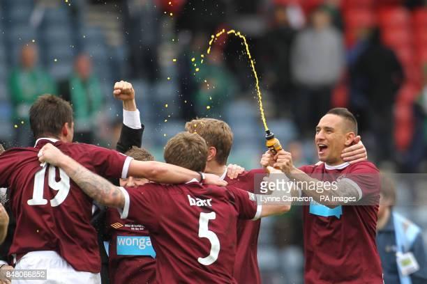 Heart of Midlothian's Suso Santana celebrates at the final whistle