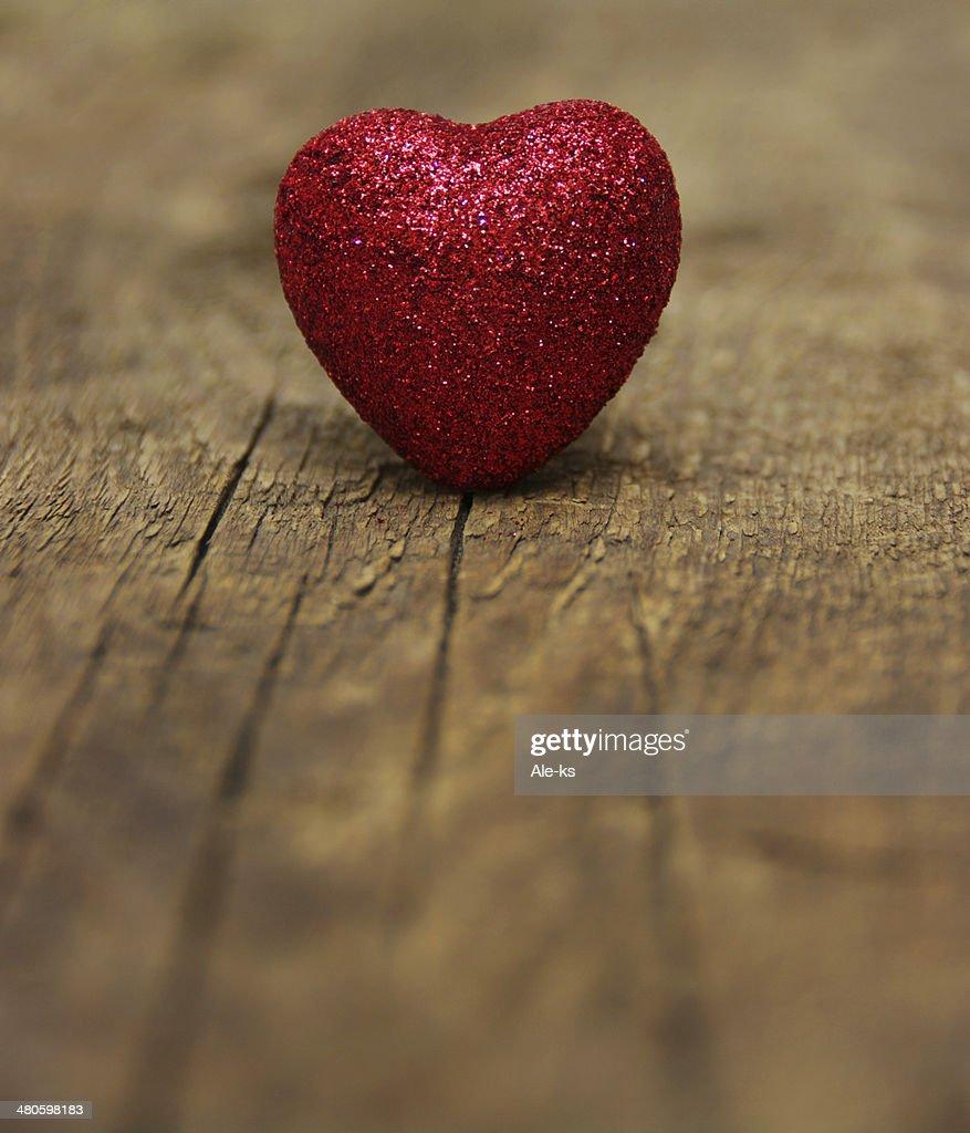 heart on wood : Stock Photo