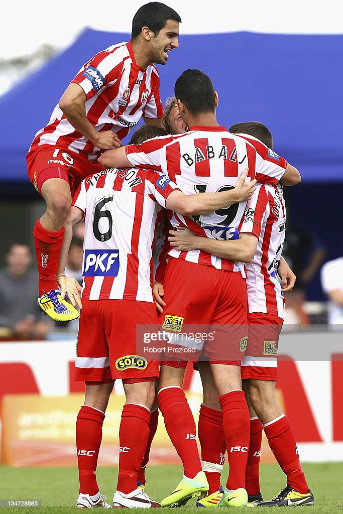 Heart players celebrate the goal of Mate Dugandzic of the Heart during the round nine A-League match between the Melbourne Heart and the Wellington Phoenix at Latrobe City Sports & Entertainment Complex on December 4, 2011 in Melbourne, Australia.