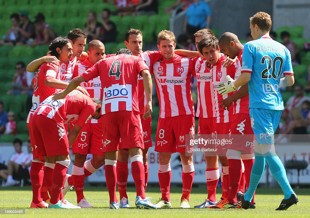 Heart players form a huddle before the round 15 A-League match between the Melbourne Heart and the Brisbane Roar at AAMI Park on January 6, 2013 in Melbourne, Australia.