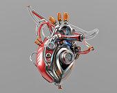 Unique robotic internal organ - steel heart with info screen