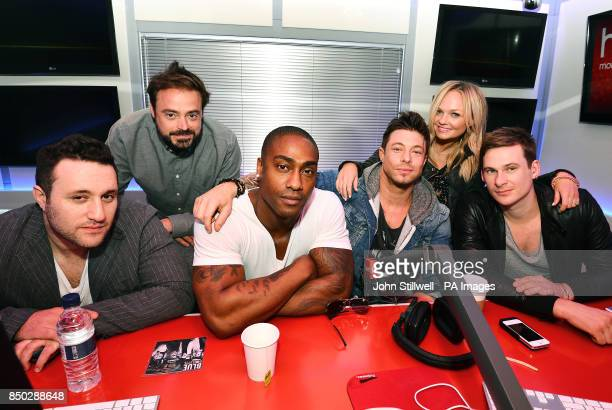 Heart Radio presenters Jamie Theakston and Emma Bunton with Anthony Costa Simon Webb Duncan James and Lee Ryan better known as singing group Blue...