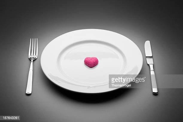 Heart served on plate. Love Valentine's day Food Restaurant Knife