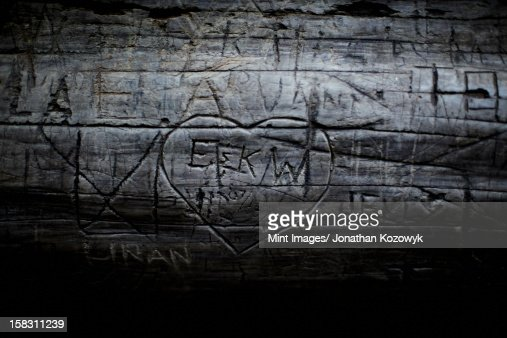 A heart shape carved into seasoned timber, with a romantic message. : Bildbanksbilder