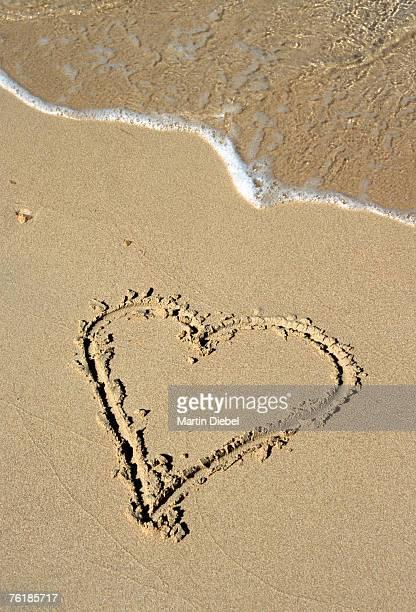 A heart shape drawn in the sand on a beach