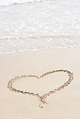 Heart Shape Drawn In The Sand On The Beach