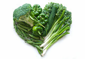 Selection of green vegetables and leaves including kale and broccoli in the shape of a heart over a whtie background