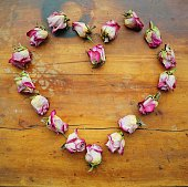 Heart shape made from dried roses