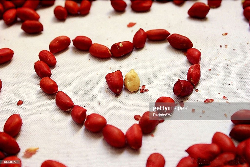 Heart shape made from red peanuts, Brazil : Stock Photo