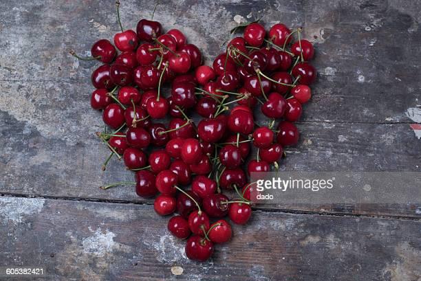 Heart shape made of cherries