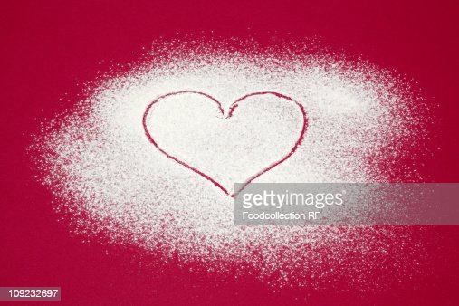 Heart shape made on icing sugar