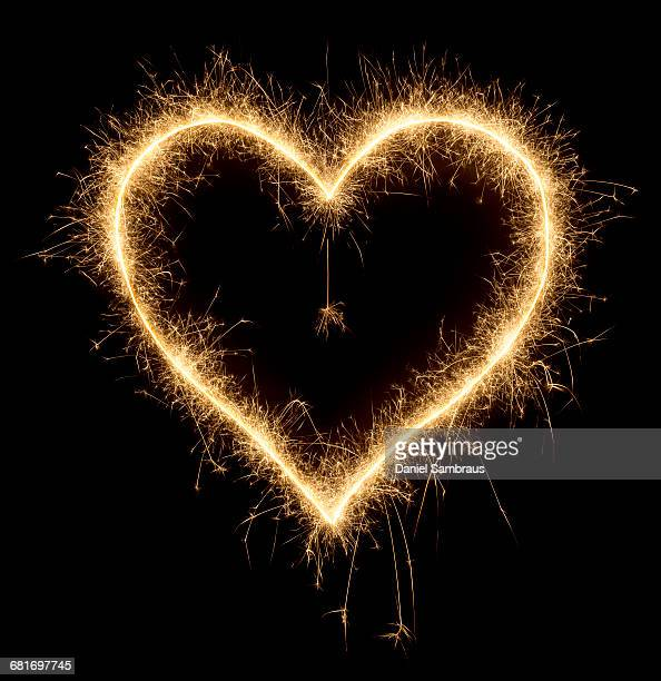 Heart shape made with sparkler