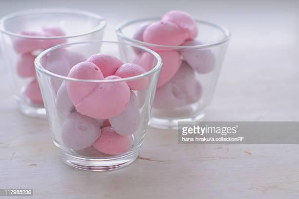 Heart shape meringue in glass