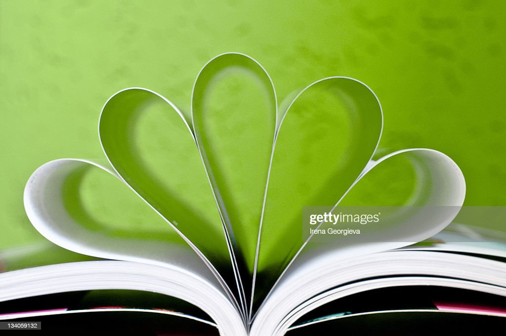 Heart shape pages of book : Stock Photo