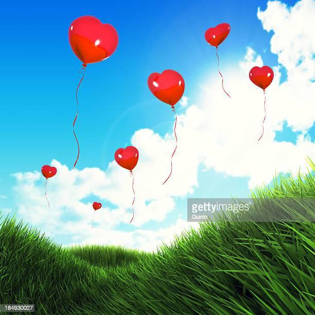 Palloncini a forma di cuore sul campo (XXXL