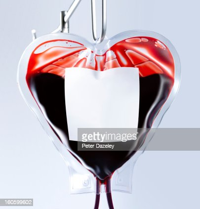 Heart shaped blood bag close up