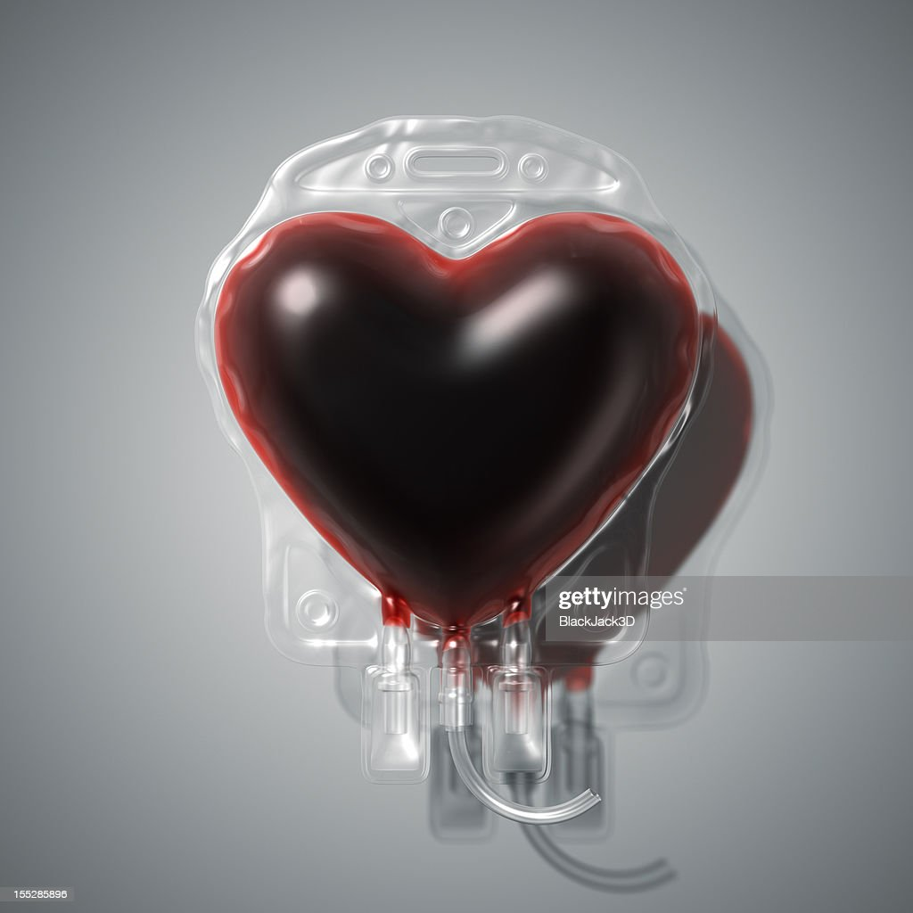 Heart shaped blood donation bag : Stock Photo