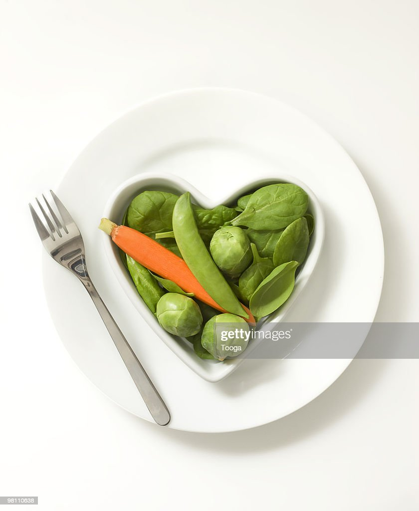 Heart shaped bowl of vegetables