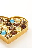 Heart shaped box of chocolates, close-up