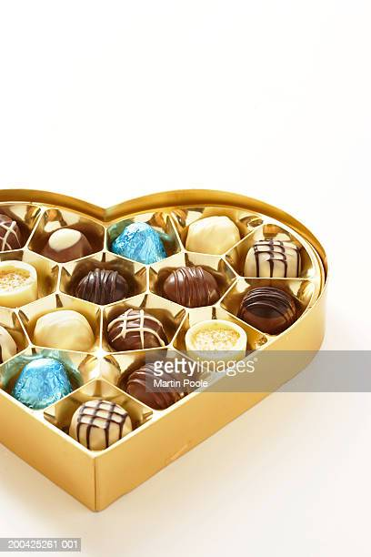 Heart shaped box of chocolates, close-up