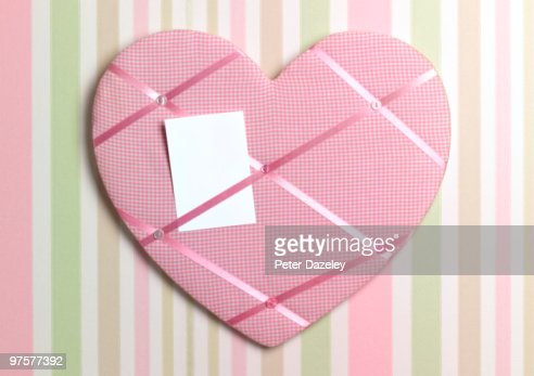 Heart shaped bulletin board with blank note stock photo for Heart shaped bulletin board