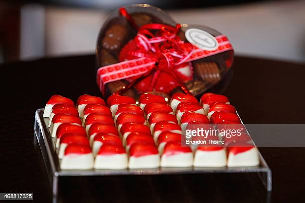Heart shaped chocolates are displayed in a chocolate shop as Sydneysiders prepare for Valentine's Day on February 12 2014 in Sydney Australia St...