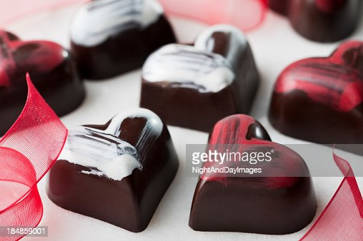 Heart shaped chocolates for valentines