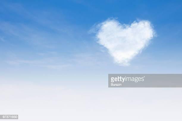Heart shaped cloud in sky