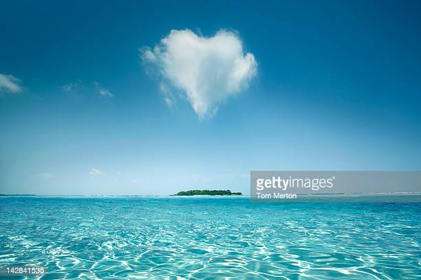 Heart shaped cloud over tropical waters