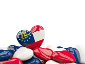 Heart shaped georgia state flag. United states local flags. 3D illustration