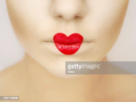 Rouge à Lèvres En Forme De Cœur Photo