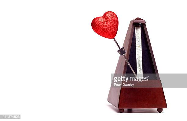 Heart shaped metronome with copy space