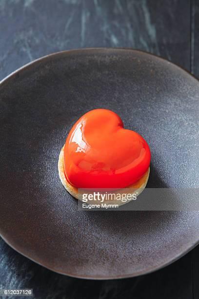Heart shaped mousse cake