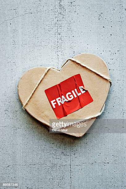 heart shaped package with fragile sticker