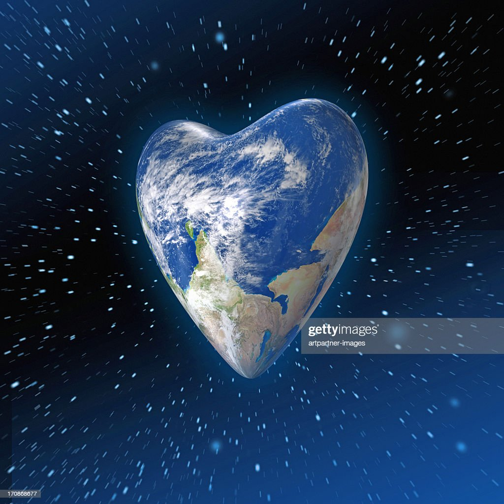 Heart shaped Planet Earth in space : Stock Photo