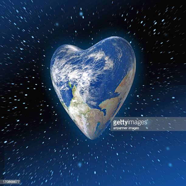 Heart shaped Planet Earth in space