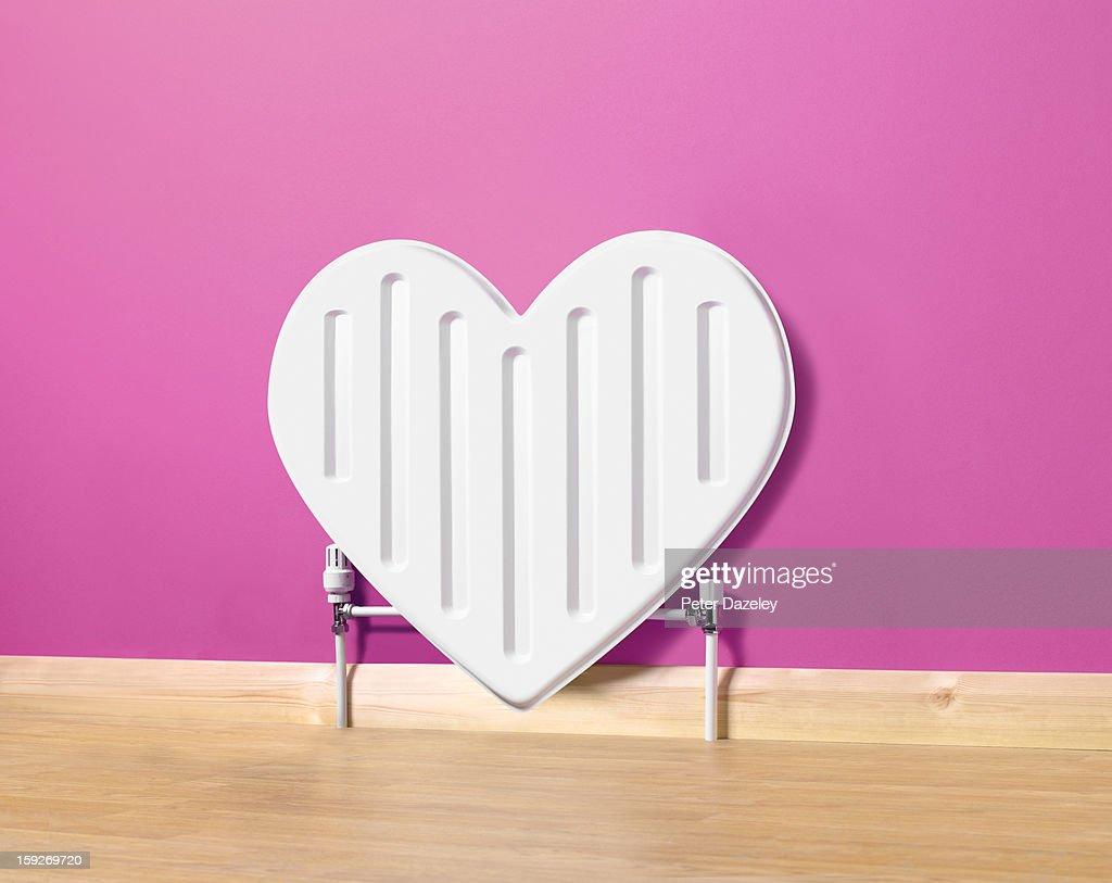 Heart shaped radiator : Stock Photo