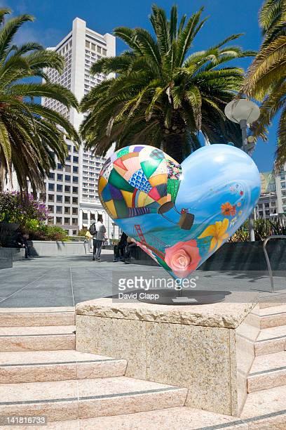 Heart shaped sculpture in Union Square, San Francisco, California, United States of America, North America