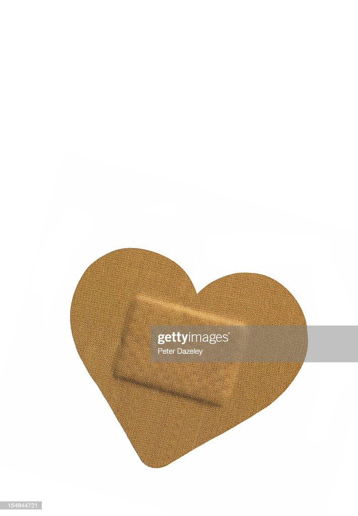 Heart shaped sticking plaster