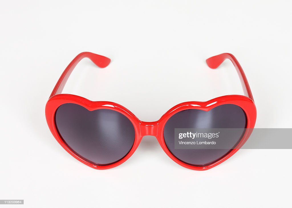 Heart Shaped Sunglasses on White Background : Stock Photo