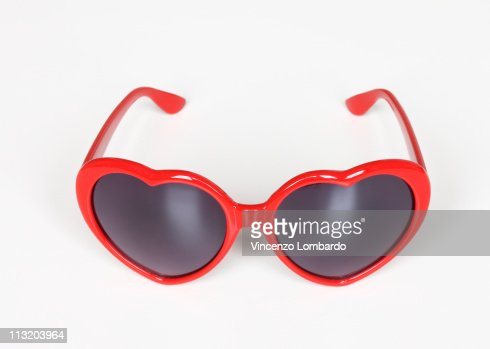 Heart Shaped Sunglasses on White Background : Foto stock