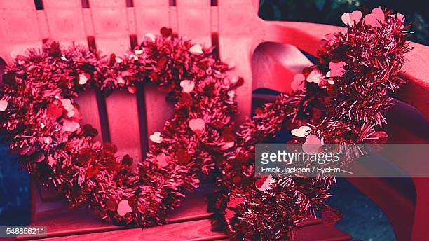 Heart Shaped Wreath On Chair