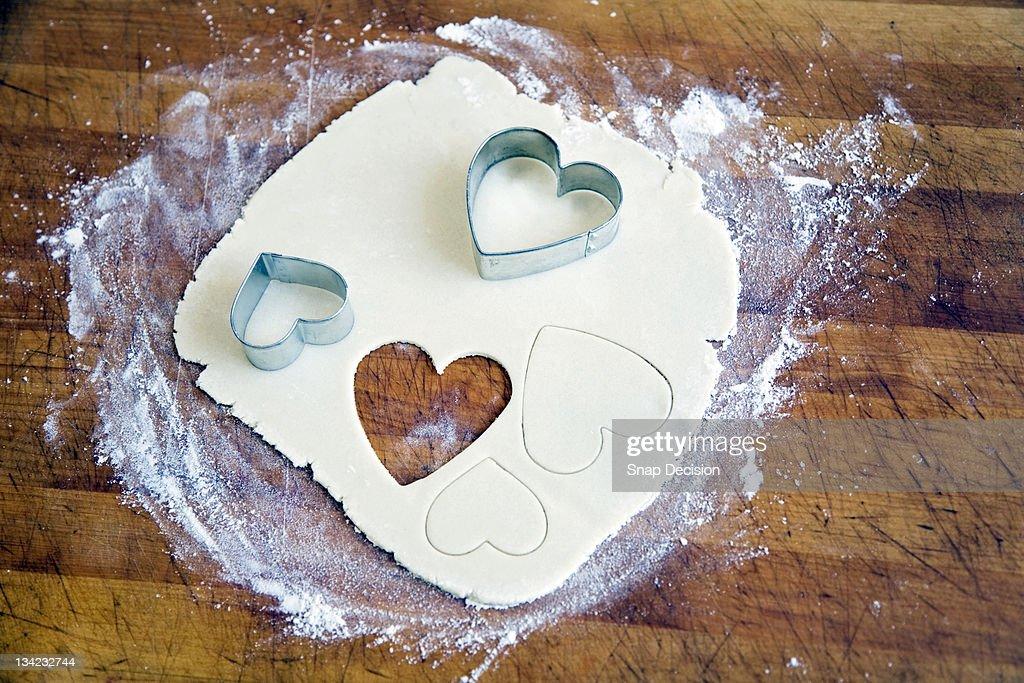 Heart Shapes Cut into Dough : Stock Photo