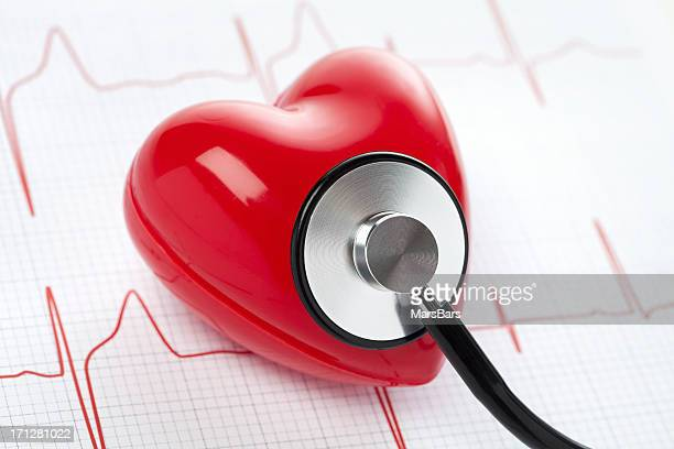 Heart, stethoscope and EKG, health concept