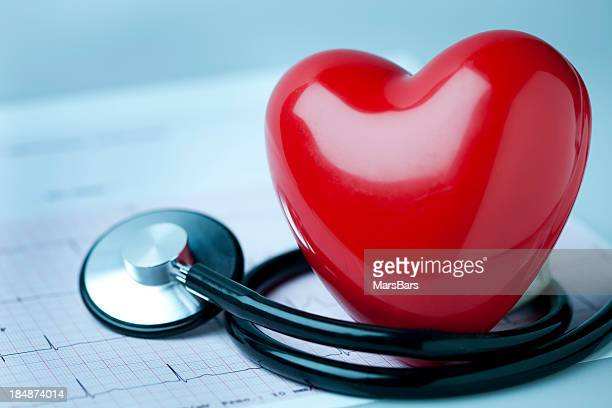 Heart, stethoscope and EKG